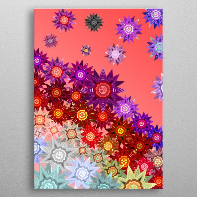 Flowers Blowing on the Wind - A cluster of flowers being blown apart by a gentle wind. metal poster