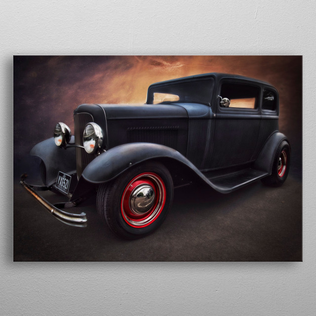 a 1932 Ford Duce Sedan, taken at Krispy Creme in Manchester and given the automotive art treatment to add to my collection of automotive art  metal poster