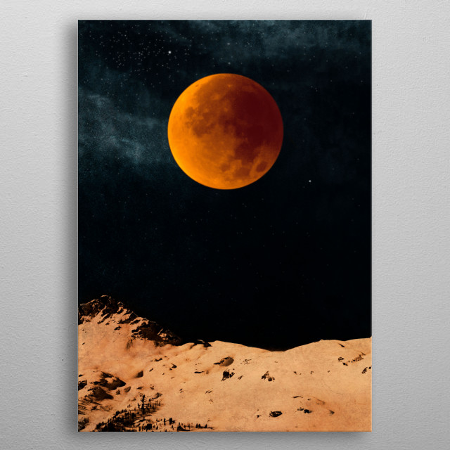 Bloodmoon over mountains metal poster