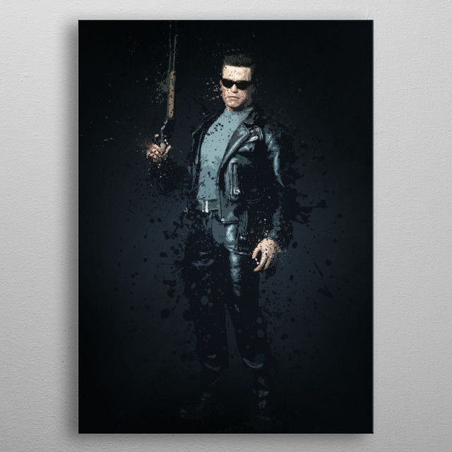 Terminator. Splatter effect artwork inspired by the Terminator universe. metal poster