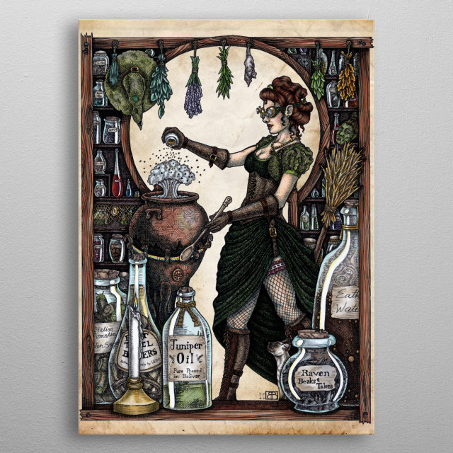 Ezlynn the Industrial witch specializes in potion-making and repelling gremlins from the steam works of the bustling dock district.   See mor... metal poster
