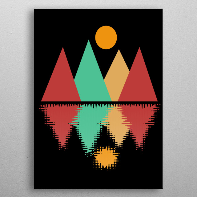 The Moon Over Four Peaks is a digital abstract geometric minimalist design by Rockett Graphics metal poster