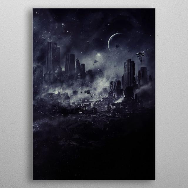 Halo city under attack by banshees at night. metal poster