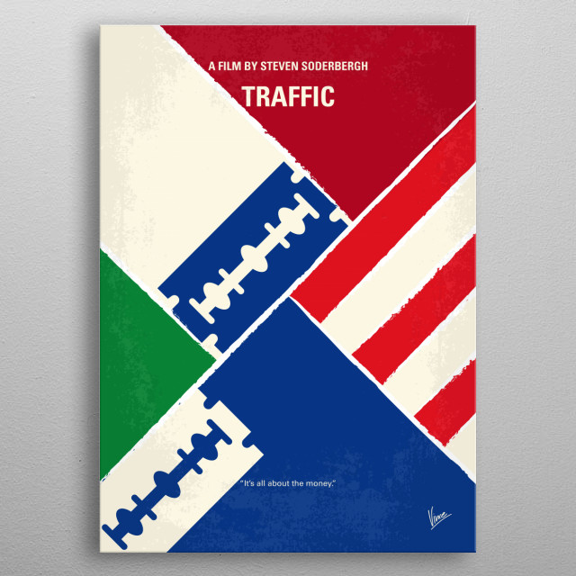 No739 My Traffic minimal movie poster  A conservative judge is appointed by the President to spearhead America's escalating war against drugs... metal poster