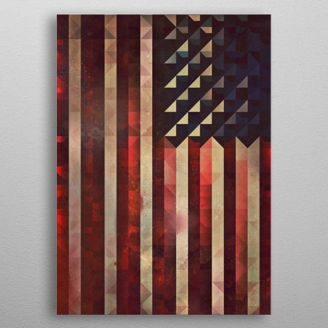 An American flag made from abstract shapes. An original take on the old classic. metal poster