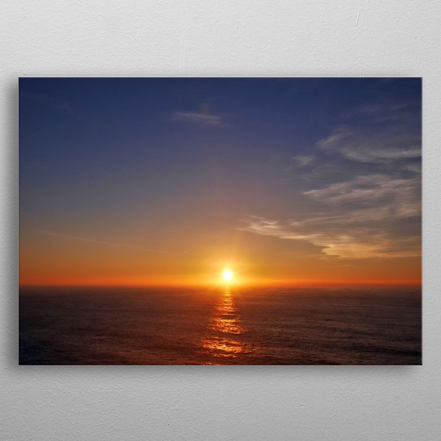 Sunset over the Atlantic Ocean at Death Coast in Galicia. metal poster