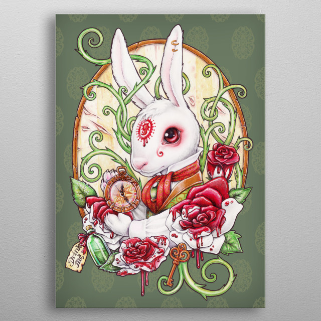 The white Rabbit in his Rabbit Hole, from Alice in Wonderland metal poster