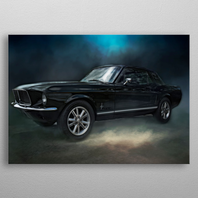 A classic Shelby Mustang showing clean muscular lines and stance. metal poster