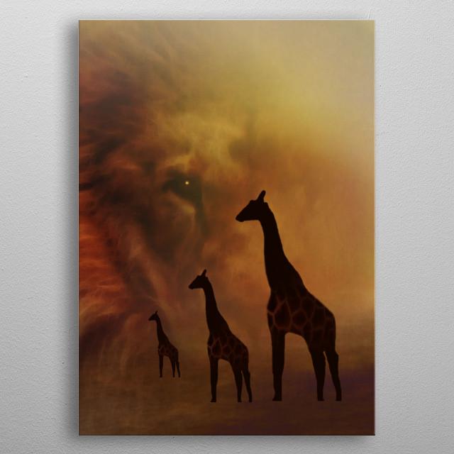 Lion and Giraffes metal poster