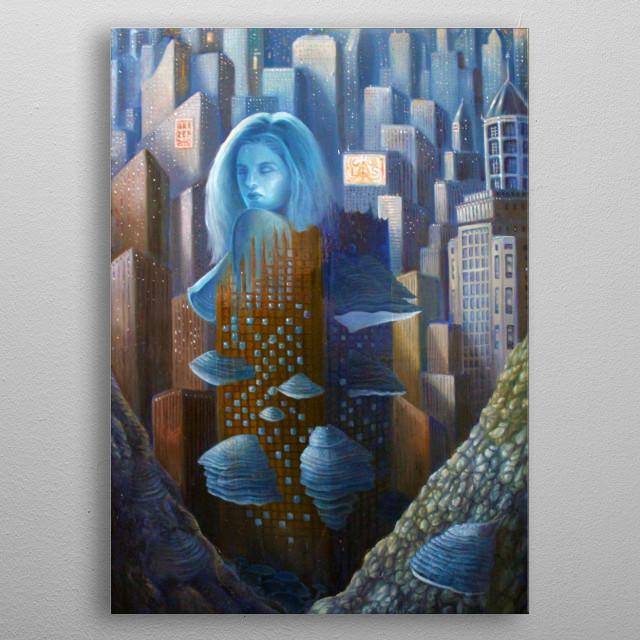 Alessandro Fantini - Fomentaria (2015), oil on canvas, 40x60 cm. metal poster