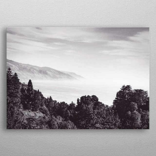 Beautiful ocean view with forest front view at Big Sur, California, USA in black and white metal poster