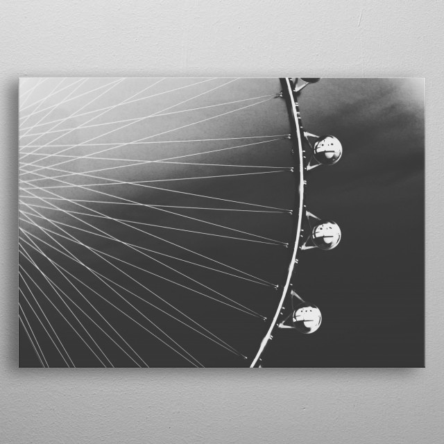 Ferris Wheel with sunset sky background in black and white metal poster
