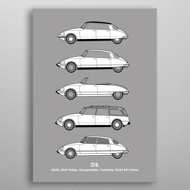 Part of my Classic Car Profiles collection, this design features five different Classic Citroen DS cars in simple side outline drawings, with... metal poster