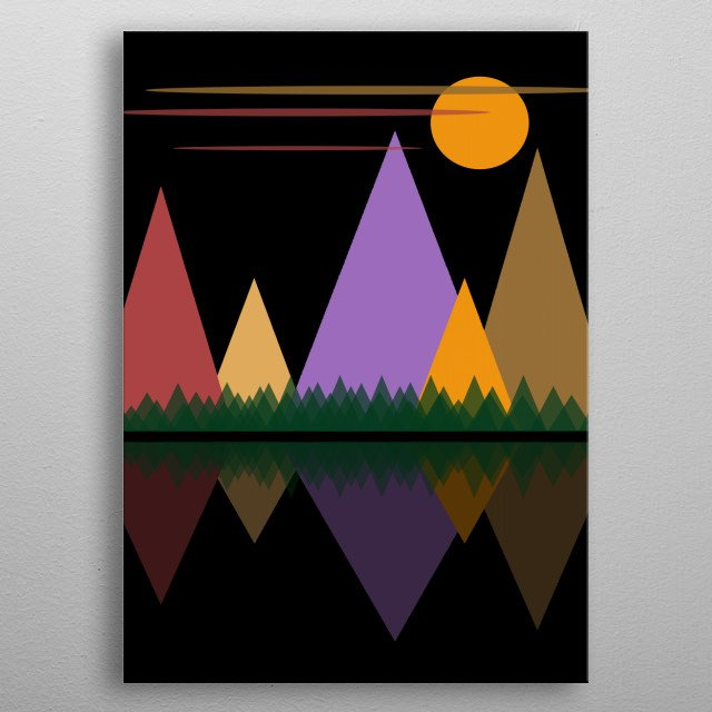 Moon Over The Mountains #3 is a digital geometric abstract minimalist work by Rockett Graphics metal poster