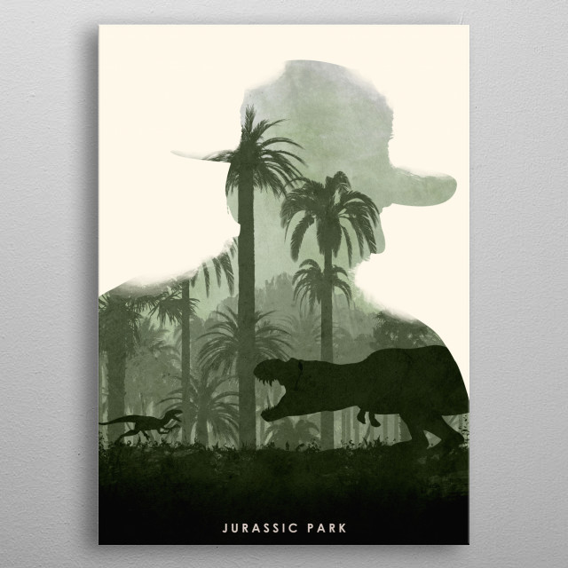 Poster design for the movie, Jurassic Park.(Re-uploaded without the borders as requested by Displate) metal poster