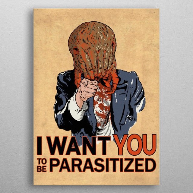 """Parasitized"" metal poster"