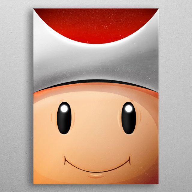 Toad Red FaceGame. Illustration with highlights and shadows in Illustrator and Photoshop. Mario metal poster