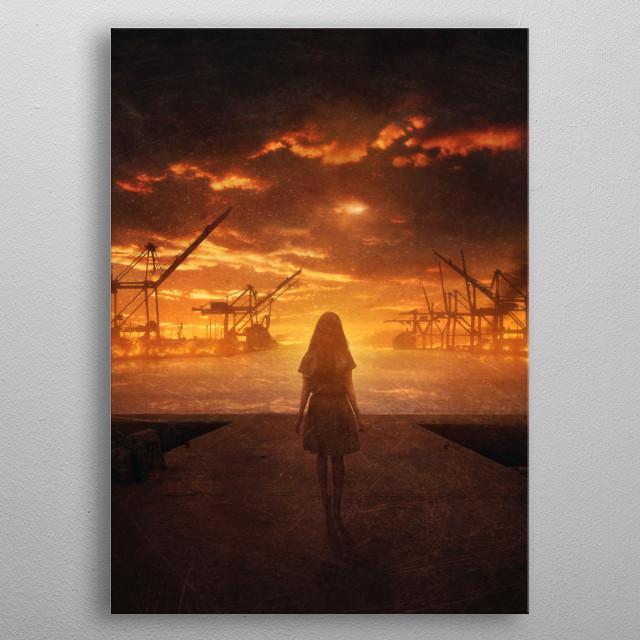 Burning Harbors metal poster