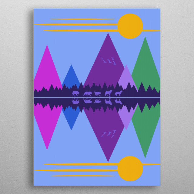 Geometric abstract minimalist design -- a small pack of wolves moving through a mountain pass -- by Rockett Graphics metal poster