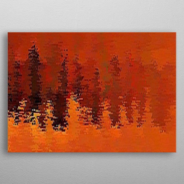 Digital Abstract Forest Fire Abstract Poster Print Metal