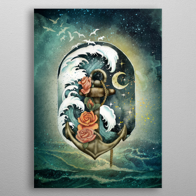 Navigate waves and stars metal poster