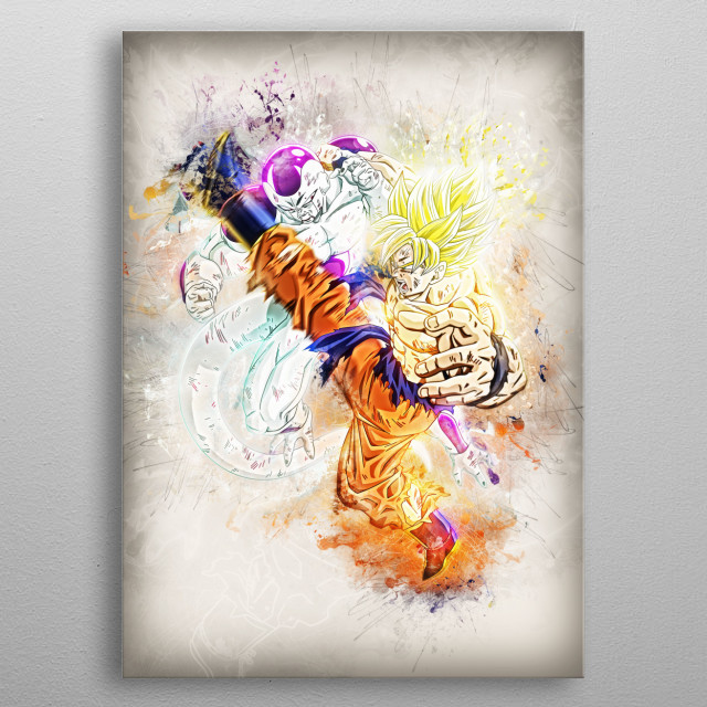 Goku and Frieza  metal poster