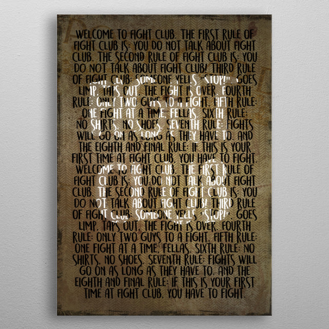 Fight Club - Rules metal poster