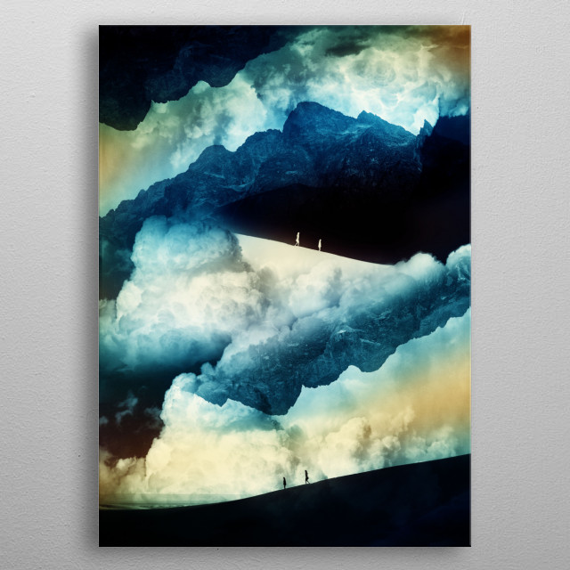 Mysterious mountains in the background and clouds on the top. A girl and a boy searching for clear vision and their state of isolation  metal poster