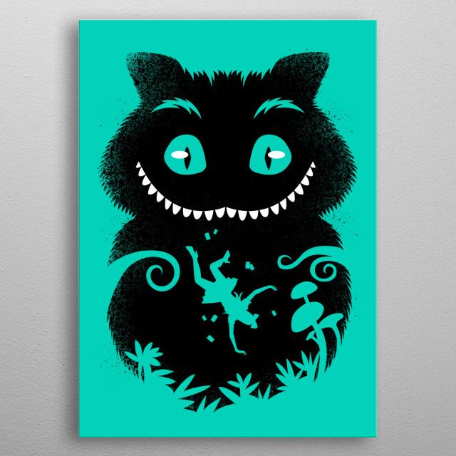 Wonderland cat metal poster