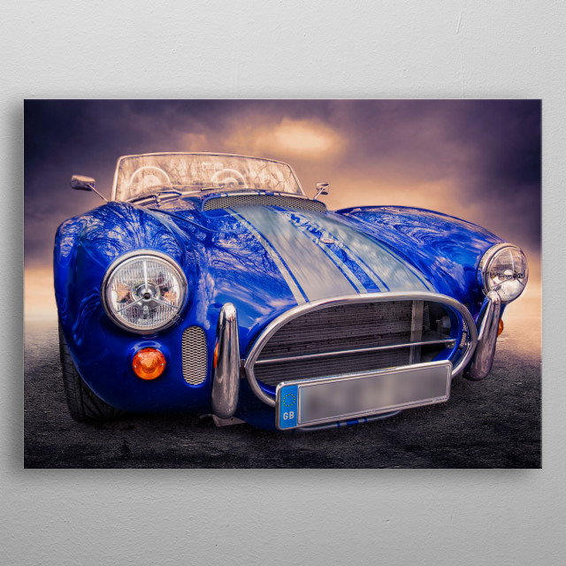 a classic reproduction of Carol Shelby's AC Cobra. A classic two set sports car for the open road metal poster