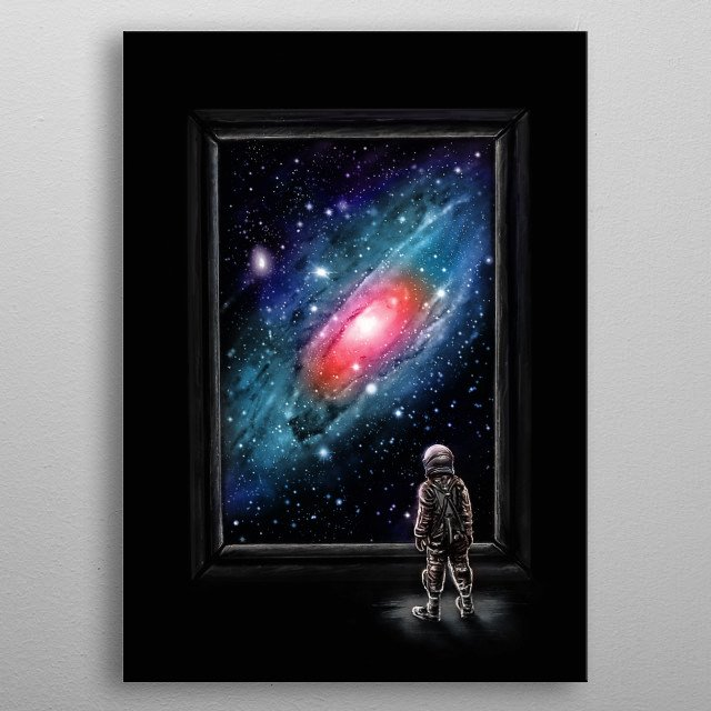 Looking Through a Masterpiece -  An astronaut looking through a painting of a galaxy. metal poster
