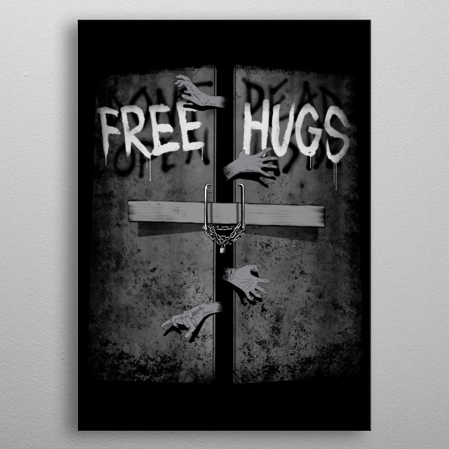 Free hugs inside metal poster