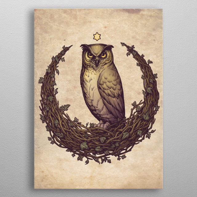Witch design with Owl and an Hedera Helix (Ivy) moon. For witches of all ages, shapes and genres. metal poster