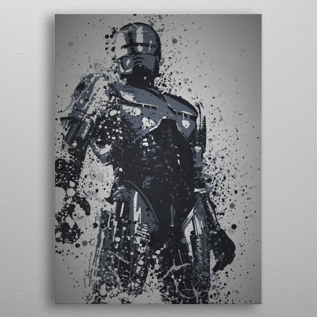 """""""Dead or Alive, you're coming with me"""" Splatter effect artwork inspired by the Robocop. metal poster"""
