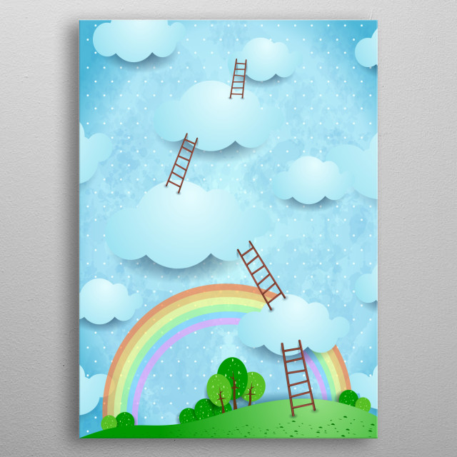 Surreal landscape with ladders and rainbow metal poster