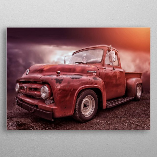 An American icon. The classic F100 pickup from Ford which was one of the workhorses of America in the fifties. This one has amazing patina  metal poster