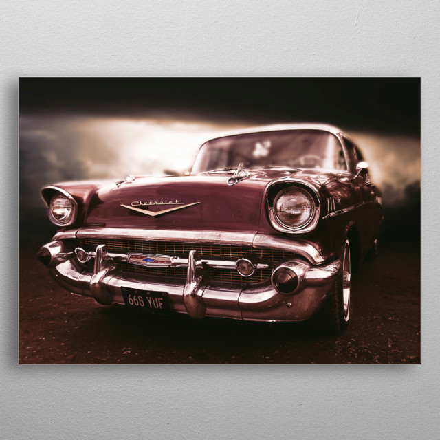 A classic 1959 Chevrolet Belair in tan and cream with chrome grill and highlight. metal poster