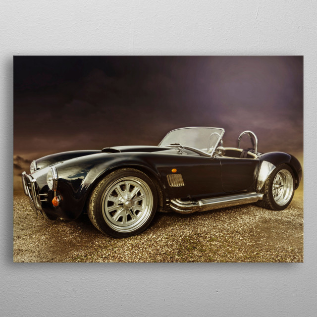 Nice edit of a Shelby Cobra taken at a car show...Edited on Photoshop to remove people and put in a different background metal poster