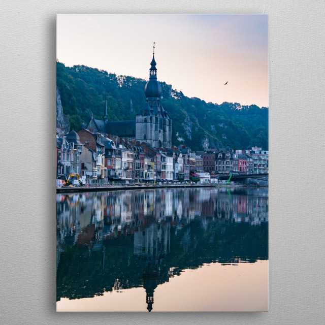 Somehow Here is Gone - Sunrise reflections in Dinant, Belgium metal poster