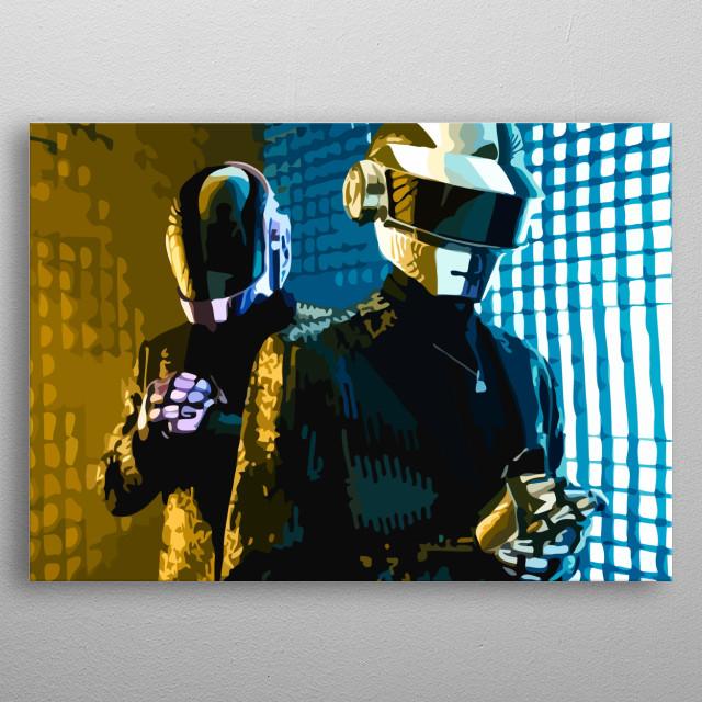 Vector art of the musician duo Daft Punk. metal poster