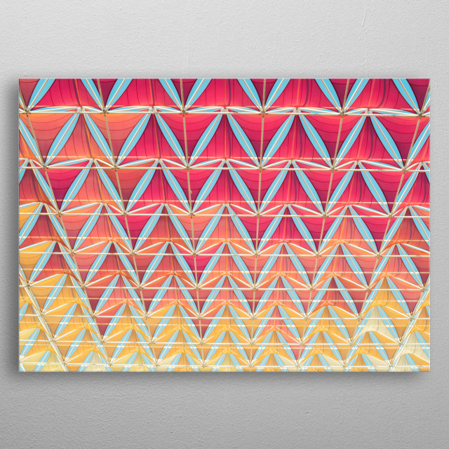 From pink to yellow pattern metal poster