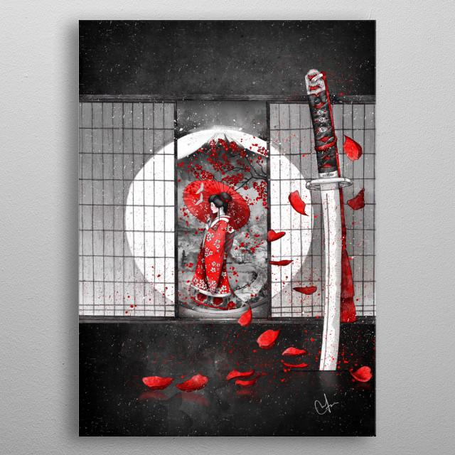 "The waitingHe said: ""I will never fall, for I'm a Samurai"" metal poster"