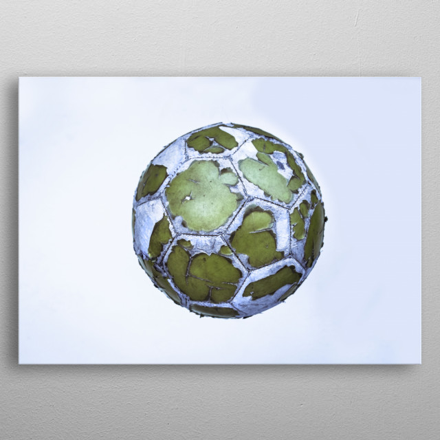 Photograph of an old soccer ball metal poster