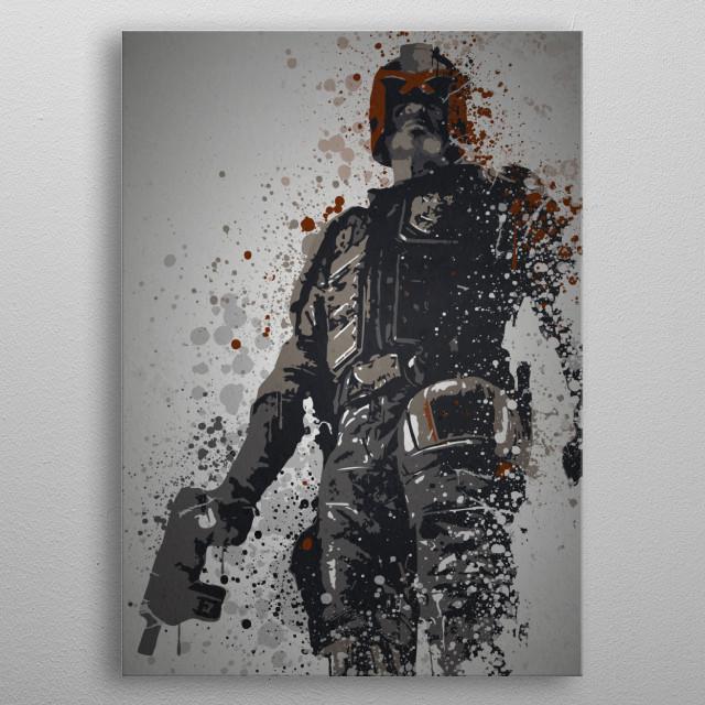 """I am the law!"" Splatter effect artwork inspired by Judge Dredd metal poster"