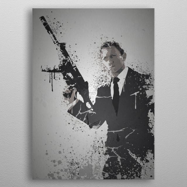 Quantum Splatter effect artwork inspired by James Bond metal poster