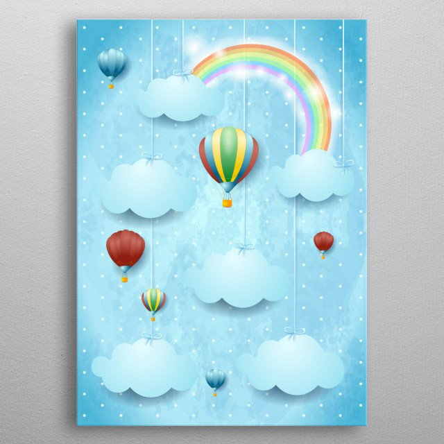 Surreal cloudscape with hot air balloons  metal poster