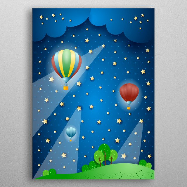 Surreal landscape with hot air balloons metal poster