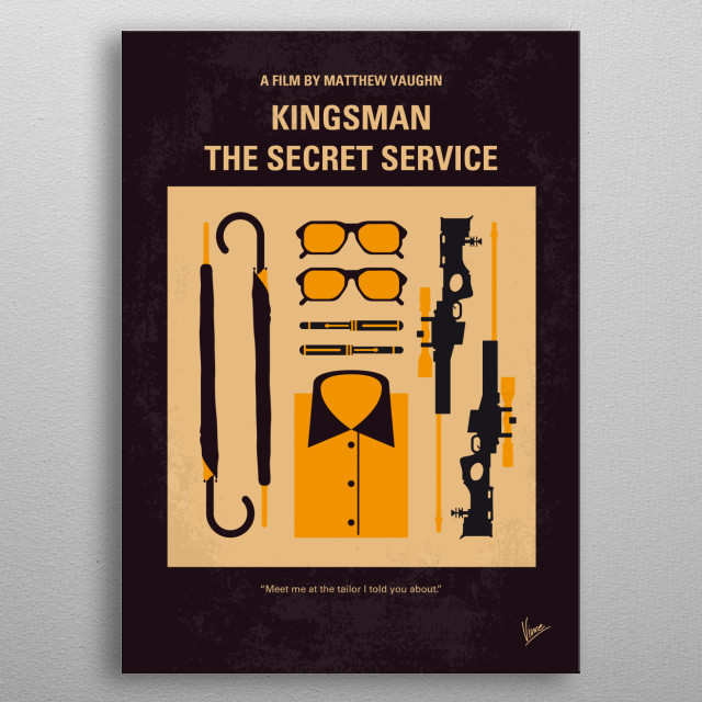 No758 My Kingsman minimal movie poster  A spy organization recruits an unrefined, but promising street kid into the agency's ultra-competitiv... metal poster