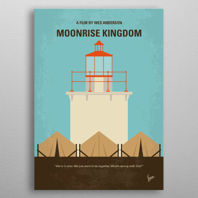 No760 My Moonrise Kingdom minimal movie poster A pair of young lovers flee their New England town, which causes a local search party to fan out to find them. Director: Wes Anderson Stars: Jared Gilman, Kara Hayward, Bruce Willis, Edward norton, metal poster