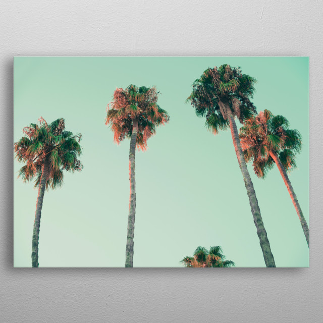 palm trees at sunset by josemanuel rios valiente metal posters